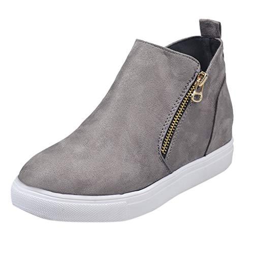 Vedolay Femmes Bottes Hiver, Femmes Plat Casual Fermeture À Glissière Unique Chaussures De Taille Plus Les Étudiants Chaussures De Course Cozy Booties - gris - 42