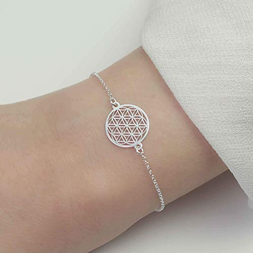 SCHOSCHON Blume des Lebens Armband 925 Silber verstellbar/Armkette Lebensblume Anhänger Schmuck - Geschenk Konfirmation Mutter Tochter