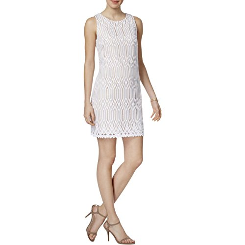 Vince Camuto Womens 1ZE660294299279015 Pattern Shift Wear to Work Dress White 10