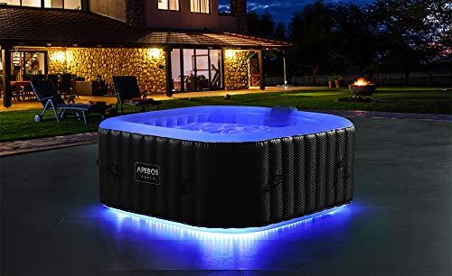 Arebos Whirlpool Corfu mit LED-Beleuchtung | 6 Farben | aufblasbar | quadratisch | In- & Outdoor | 4 Personen | 100 Massagedüsen | mit Heizung | 600 L Liter | Inkl. Abdeckung | Wellness & Massage