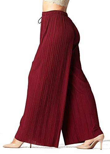 Women's High Waisted Palazzo Pants - Flowy Wide Legged in Regular and Plus Sizes - Drawstring Solid Burgundy - Small - Medium - 902-Burgundy