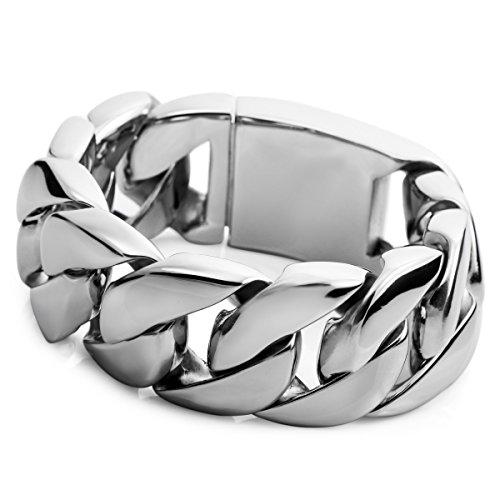 munkimix bracciale uomo MunkiMix Grande Pesante Acciaio Inossidabile Bracciali Bracciale Braccialetto Collegamento Polso Tono Argento ( Peso : 303g ) Uomo