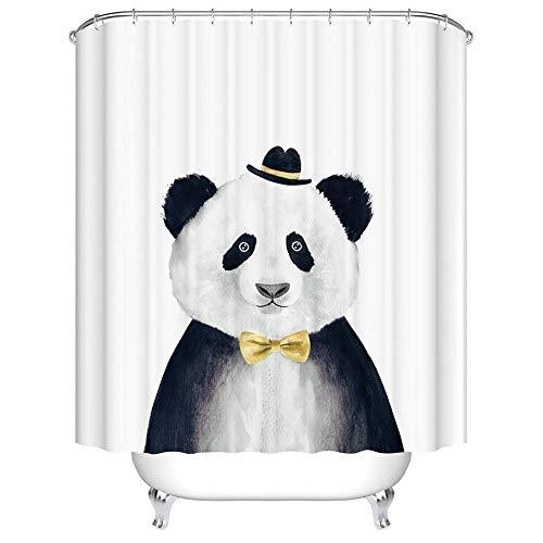 Boyouth Duschvorhang mit süßem Panda-Motiv, Digitaldruck, für Badezimmer, Polyester, wasserdichter Stoff, mit 12 Haken, 178 x 178 cm, mehrfarbig