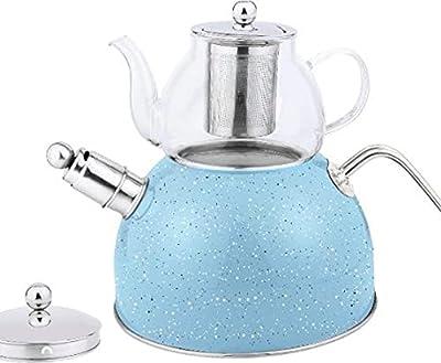 Eco-Friendly Premium Double Teapot set Turkish Tea Kettle for stove top Large 3.1Qt Food grade Stainless Steel, Blue, Loud Whistle kettle & 0.63Qt Stovetop & Microwave Safe Glass teapot w/ Strainer
