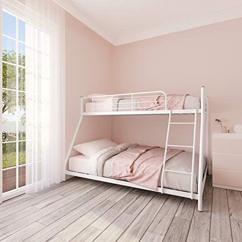 V-HOME Heavy-Duty Metal Bunk Bed,Twin Over Full Bunk Bed with 2-Side Ladder Trundle and Safety Rails,Stainless Steel Frame Easy Assemble,Space-Saving Design for Kids Bedroom Apartment,White