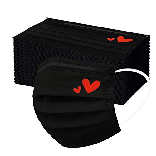 50PC Black Disposable Face Mask for Adults with Designs Cute Heart Printed Paper Masks Full Face Cover Dust Windproof Protections (C)