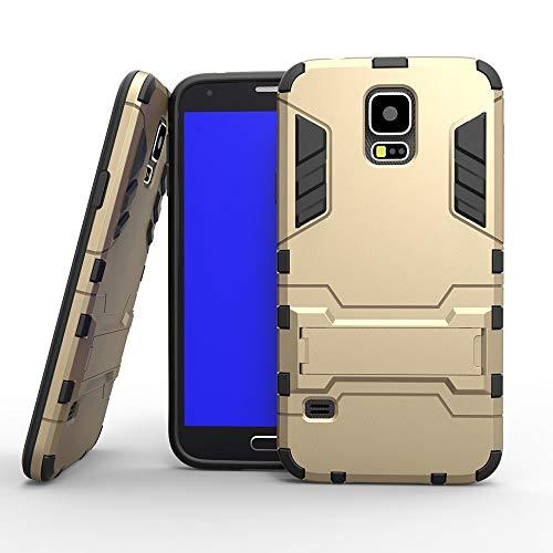 COOVY® Cover für Samsung Galaxy S5 SM-G900F SM-G901F Neo SM-G903F Bumper Case, Doppelschicht aus Plastik + TPU-Silikon, extra stark, Anti-Shock, Standfunktion | Farbe Gold