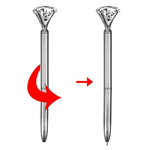 CLARA 8 Pcs Big Diamond Pens Rhinestone Crystal Metal Ballpoint Pen Black Ink Silver Photo #3