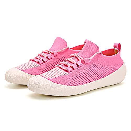 Zapatillas de Ciclismo Ligeras para Caminar,Zapatillas de Deporte Sin Cordones,Zapatillas de Malla Transpirable con Amortiguación de Aire,Trabajo a La Moda,Cómodo Informal,Pink-42