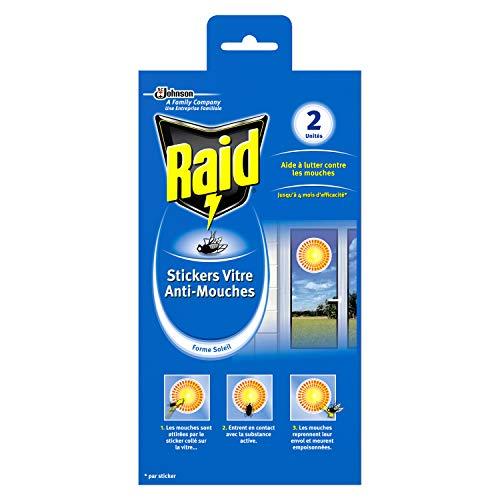 Raid Stickers Vitre anti-mouches, eficiencia 4meses, forma sol, insecticida,–Juego de 2