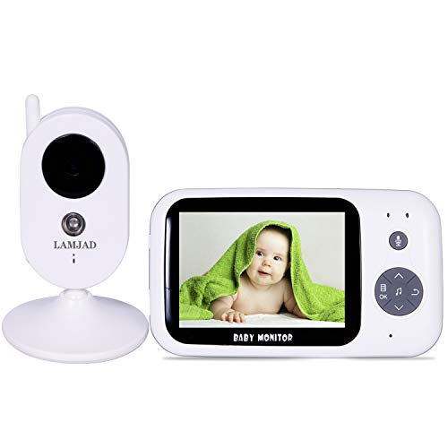 Best Deals! Baby Monitor, LAMJAD 3.2'' Video Baby Monitor with Camera and Audio, Auto Night Vision,T...