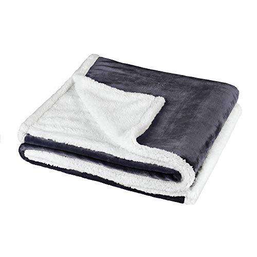 BaSaTex Sherpa Kuscheldecke Wohndecke | extra flauschig warme Sofadecke, Couchdecke | 150x200 cm Flauschdecke | Anthrazit