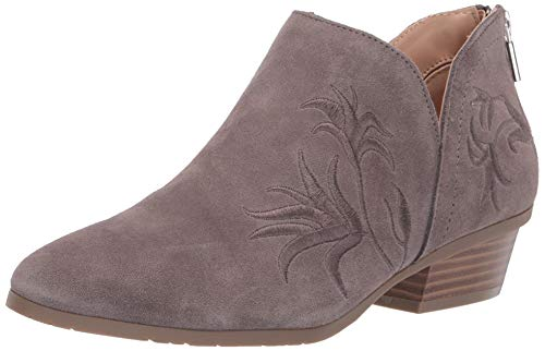 Kenneth Cole REACTION Women's Side Gig Tonal Embroidered Ankle Bootie Boot, Grey, 8.5 M US
