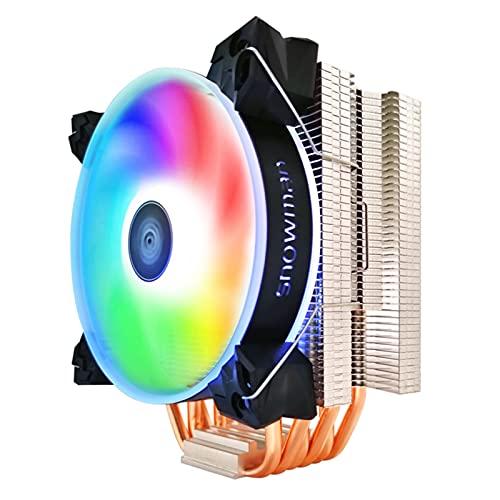 CPU Cooler 6 Tubos de Calor 120 mm 4 Pin PWM RGB para Intel LGA 1200 1150 1151 1155 2011 AMD AM4 AM3 CPU FANE DE ENFRIENCIA PC SILLAD (Blade Color : RGB X 1 Fan, Blade Quantity : 4 Pin PWM)