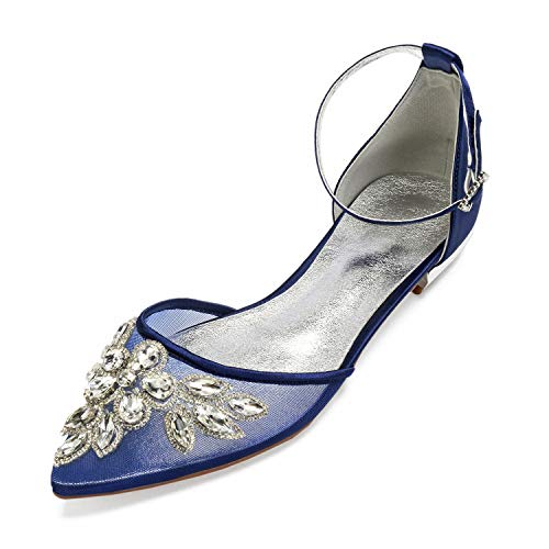 CCBubble Women Sheer Mesh Rhinestones Wedding Flats Pointed Toe Ankle Buckle Strap Bridal Party Flat Shoes-Dark Royal Blue-12