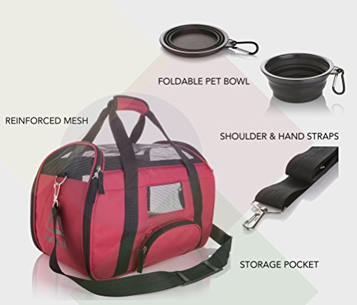 SunShack Soft Sided Pet Carrier - Onboard Airline Approved Under Seat Travel Tote Bag for Cats Dogs and Pets. Includes a Removable Cushioned Fleece Pad and Collapsible Silicon Bowl. Small, Maroon