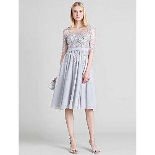 kekafu A-Line V-Ausschnitt Sweep/Pinsel Zug Chiffon Brautkleid mit Crystal drapiert, die von LAN TING Braut, Dunkelgrün, US4/UK 8 / EU 34