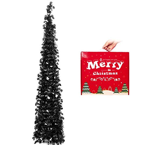 HOHOTIME Christmas Tinsel Tree 5ft, Detachable Artificial Black Christmas Pencil Tree, Slim Pop-Up Tree for Christmas Home Decor, Christmas Party Decorations