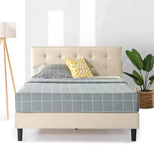 Best Price Mattress Bed Frame Tufted Headboard and Wooden Slats Support (No Box Spring Needed), Full, Bed ,Beige