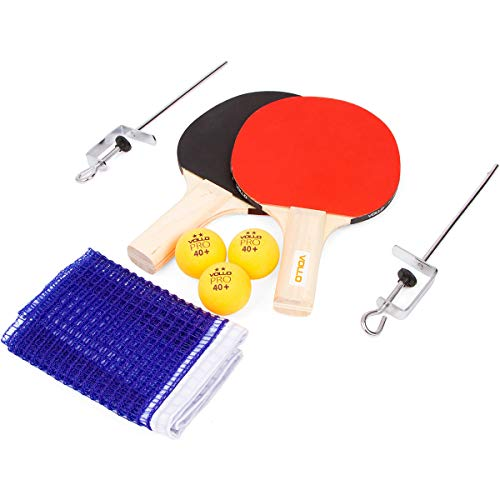 Vollo Sports Kit Tenis de Mesa com 2 Raquetes, 3 Bolas e Suporte, Madeira