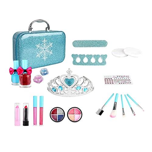 Kit de Maquillaje para niños para niñas, 22 Piezas, Juego de Maquillaje Real Lavable, Kit de Inicio de Maquillaje para niños, Juguetes congelados para niñas de 4 5 6 7 8 años de Edad, niños