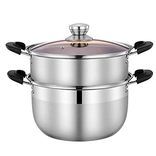 ZHGUOCHFYJ Stainless Steel Steamer, 2 Tier Stainless Steel Induction Steamer Set, Toughened Glass Lid,Compound Pot Bottom