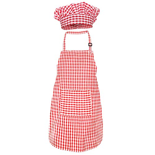 Kids Apron and Chef Hat Set, Cute Children Baking Gingham Aprons with Adjustable Neck Strap and Pockets for Boys and girls Cooking Baking Painting Gardening Aprons in 2 Sizes (Red Gingham, Large)