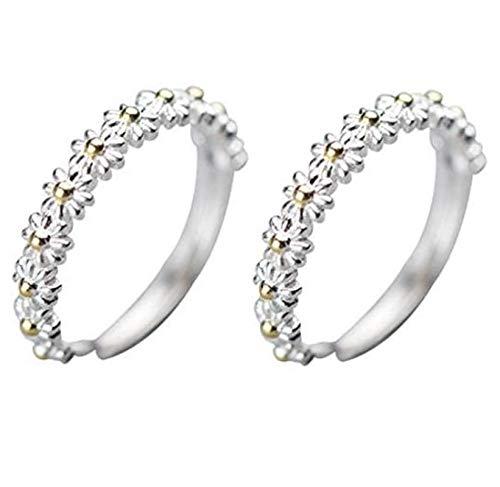 2 Piezas I Think About You Every Daisy Ring, Anillo Hawaiano de Flor de Margarita Ajustable para Mujeres, para Mujeres y Hombres, Regalos