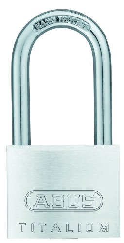 "ABUS 64TI/40HB40 Titalium Aluminum Alloy Padlock Keyed Alike - Long Nano Protect Steel Shackle (1-1/2"")"