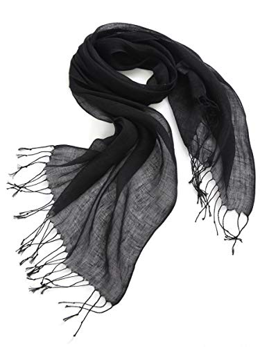 prettystern bufanda de lino lisa unisex 100% foulard hombres y mujeres primavera verano con flecos T52 Negro