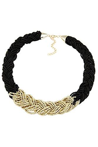 Collar - SODIAL(R)Moda de mujer Joya de collar Cadena trenzada tejida de punto Collar de cadena corta de gota de oro - Negro