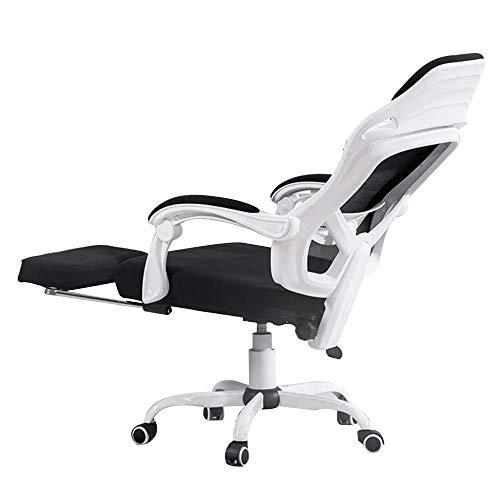 Drehstuhl Computerstuhl, Handlauf verbunden Bionic Ergonomics Bow Bracket 150 ° Liegefunktion Heimbürostuhl Sitz 2 Farben (Farbe : Weiß)