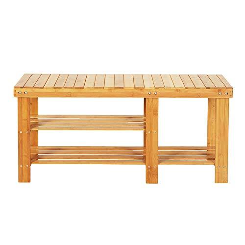 sogesfurniture Bambus Schuhregal Schuhschrank mit Sitzbank, Bambus Schuhbank mit 2 Ablagen, ideal für Diele, Flur, Treppenhaus, 90x28x45cm, BHEU-HXD-A90XZ