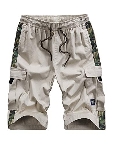 Narannbu Men's Cargo Shorts Size 40 Elastic Waist Relaxed Fit Cotton Casual Shorts, Camo Beige