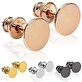 modabilé Pendientes de botón para damas redondo de plata de ley 925 (8mm) VIRGIN Aretes oro rosa chapado en oro: Círculo, Pequeño &...