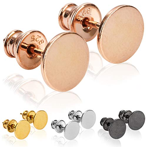 modabilé Pendientes de botón para damas redondo de plata de ley 925 (8mm) VIRGIN Aretes oro rosa chapado en oro: Círculo, Pequeño & Plano + Estuche de regalo | Hecho en Europa