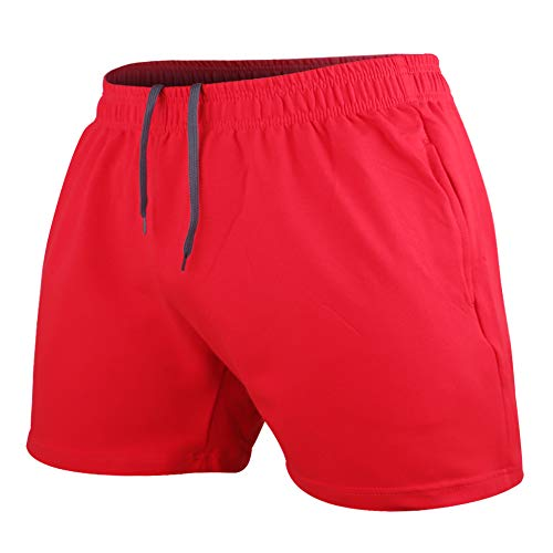 Men's Bodybuilding Workout Gym Shorts 5' Inseam Sports Cotton with Pocket Red Color Size M