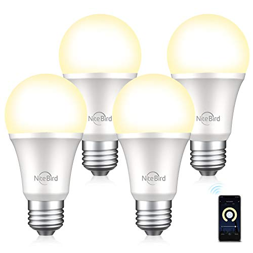 Smart Light Bulb Compatible with Alexa Google Home, NiteBird A19 E26 Wifi Dimmable Warm White 2700K LED Lights Bulbs, 75W Equivalent, No Hub Required, 4 Pack