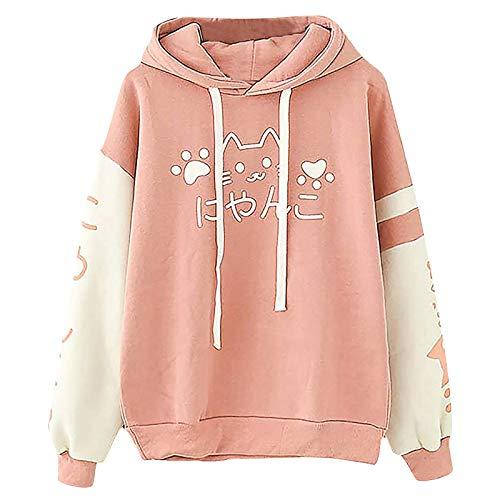 URIBAKY - Sudadera con capucha para mujer, con capucha, costuras, estampadas, de gato, bonitas, chicas de colores japonesas rosa Talla única