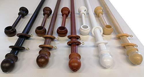 Bastone in Legno Diametro 23 mm per Tende A Strappo Senza Corda, con Anelli-TERMINALI- STAFFE Montaggio, Vari Colori e Misure (Bianco, 200 CM)