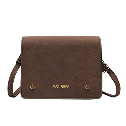 TAMALLU Damen Umhängetasche Umhängetaschen Einfarbig Leder Brieftasche Abnehmbarer Trageriemen Taschen(Kaffee)