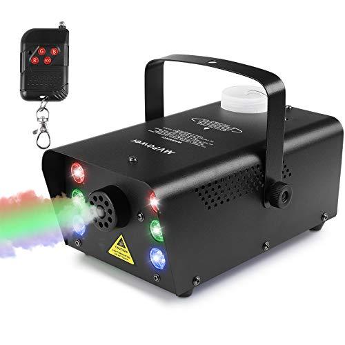MVPower Nebelmaschine mini, Nebel Maschine mit kabelloser Fernbedienung und 6 stück buntes Licht, Passend für Halloween, Weihnachten, Hochzeitsfeiern & Bühnenauftritte,500w