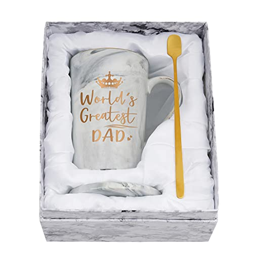 World Greatest Dad Coffee Mug - Best Dad Mug - Father's Day Gift for Dad from Daughter Son Kids - Funny Marble Dad Cup for Birthday, Christmas, Thanksgiving Day 14 Oz with Box, Coaster, Spoon