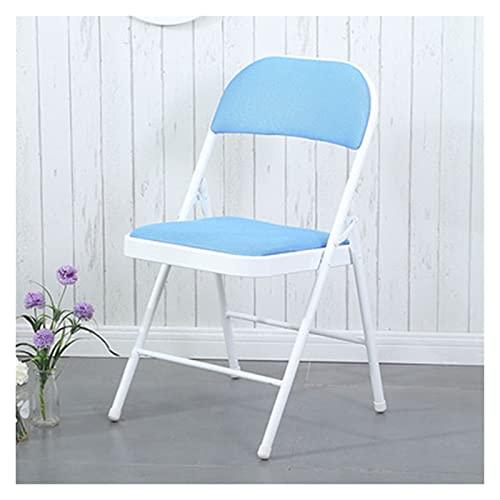 QUNHU Silla Plegable metálica de Trabajo Pesado con Asiento Acolchado para Confort del Marco de Acero (Color : Blue)