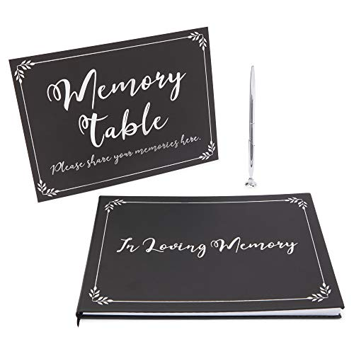 Faithful Finds Funeral Guest Book, Pen, and Memorial Table Sign, in Loving Memory (3 Piece Set)