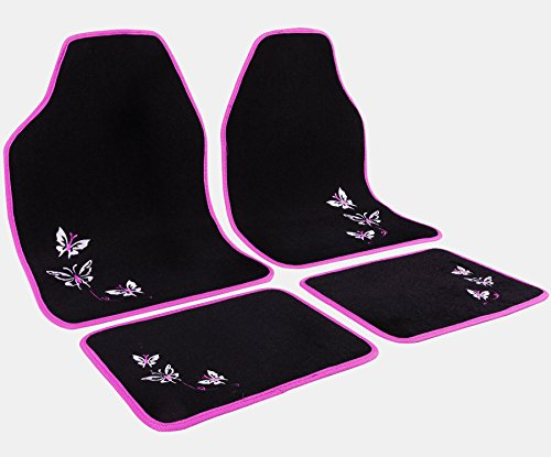 WOLTU Universal Auto Fußmatten Teppich Stickerei Butterfly Rosa/Schwarz AM7141