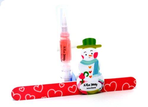 A-viva Beauty Kit de manucure : cuticule Huile de jojoba + Petit Bonhomme de neige à ongles Shiner + Rose Eco Lime à ongles 17,8 cm
