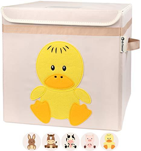 elb finesse ® Aufbewahrungsbox Kinder I Spielzeugkiste mit Deckel für das Kinderzimmer I Spielzeug Box (33x33x33) zur Aufbewahrung im Kallax Regal I Ordnungsbox I Bauernhof Motiv (Kicki Kücken)