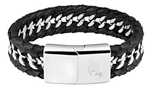 Zippo Herren Leather & Steel Bracelet Charm-Armbänder, Schwarz, 20 cm