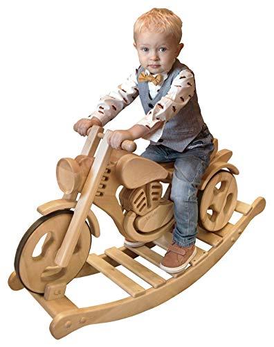 Kandu Classic Schaukelmotorrad Laufrad Schaukelpferd Holzmotorrad Ökologisches Holzspielzeug Für Kinder
